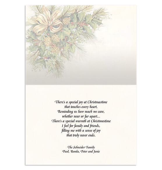Personalized Christmas Greenery Christmas Card Set of 20 - View 2