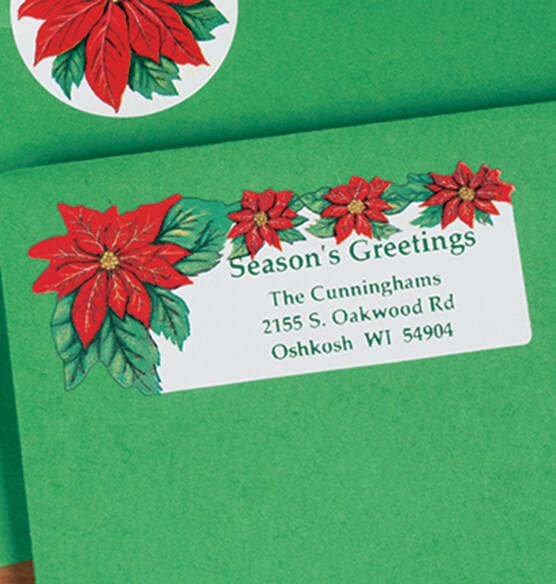 Poinsettia Address Labels 250 - View 2