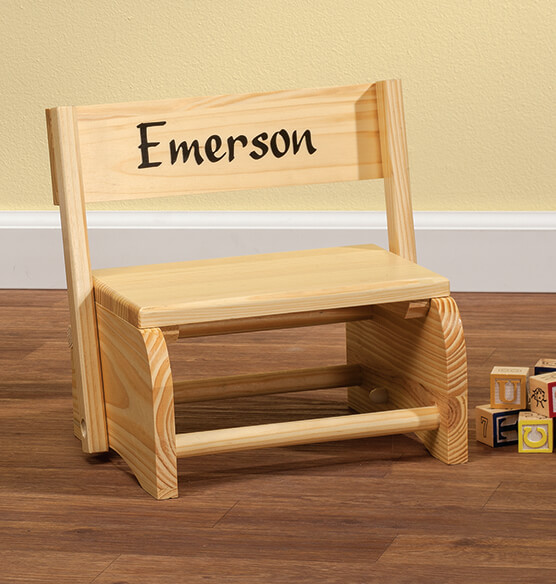 Personalized Natural Wooden 2-in-1 Chair and Stepstool - View 2