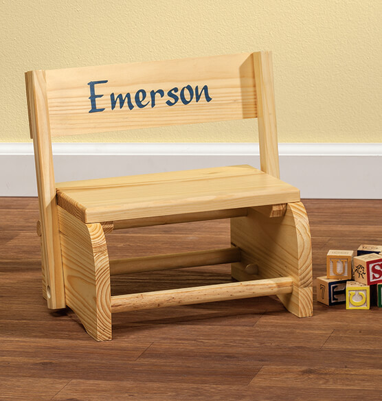 Personalized Natural Wooden 2-in-1 Chair and Stepstool - View 3