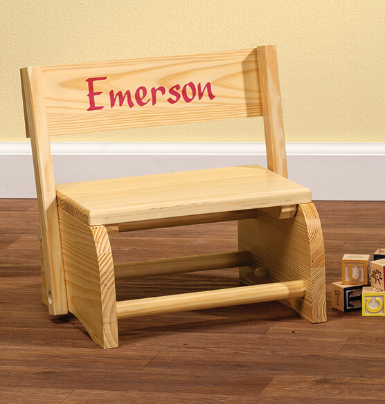 Personalized Natural Wooden 2-in-1 Chair and Stepstool - View 4
