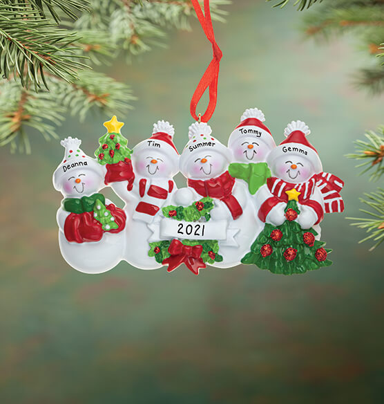 Personalized Snow Family Ornament - View 5