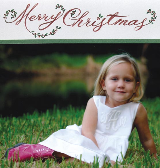 Floral Christmas Script Photo Christmas Card Set of 18