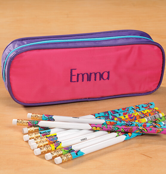 Personalized Butterfly Pencil Case and Pencil Set - View 2