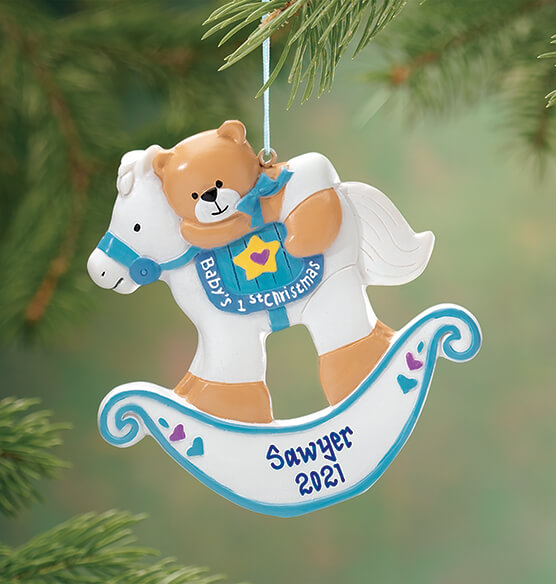 Personalized Baby's First Christmas Rocking Horse Ornament - View 2