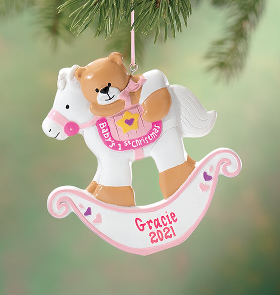 Personalized Baby's First Christmas Rocking Horse Ornament - View 3