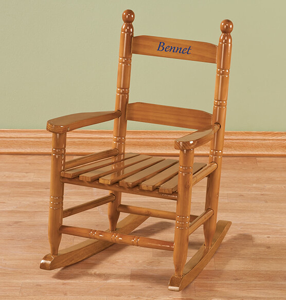 Personalized Childs Natural Rocker - View 2