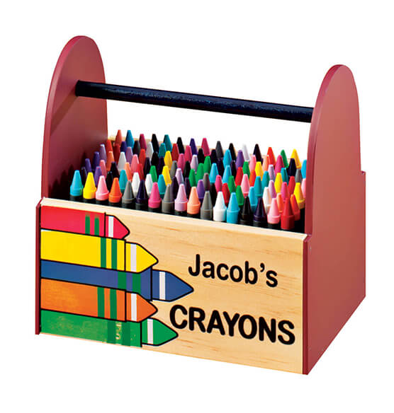 Personalized Wooden Crayon Caddy - View 2