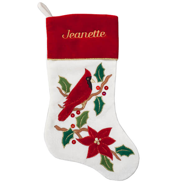 Personalized Cardinal Stocking - View 2