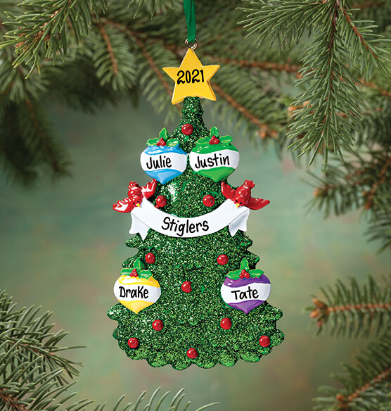 Personalized Glitter Tree Ornament - View 3