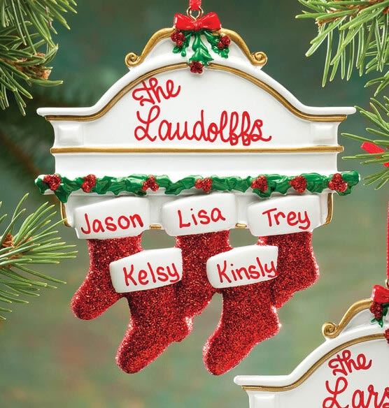 Personalized Christmas Mantel Stocking Ornaments - View 4