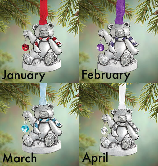 Personalized Pewter Birthstone Bear Ornament - View 2