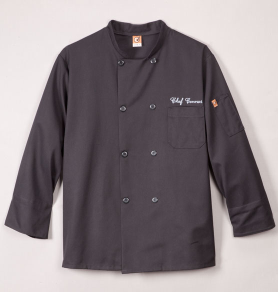 Chefs Jacket Black  Personalized - View 3