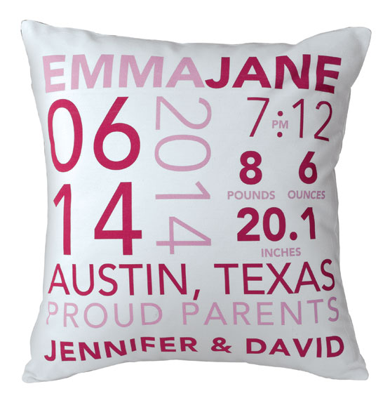 Birth Announcement Pillow - View 2