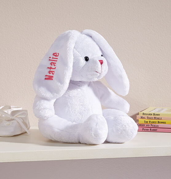 Personalized White Plush Bunny - View 2