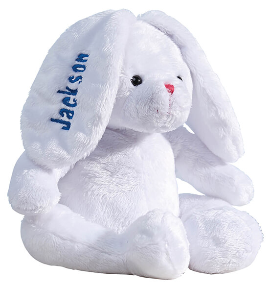 Personalized White Plush Bunny - View 3