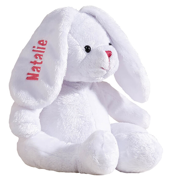 Personalized White Plush Bunny - View 4