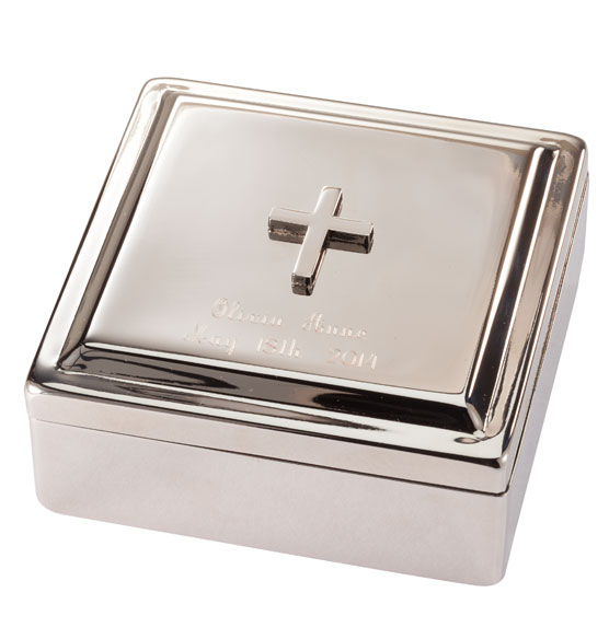 Personalized Silver Blessing Box with Engraved Cross - View 2