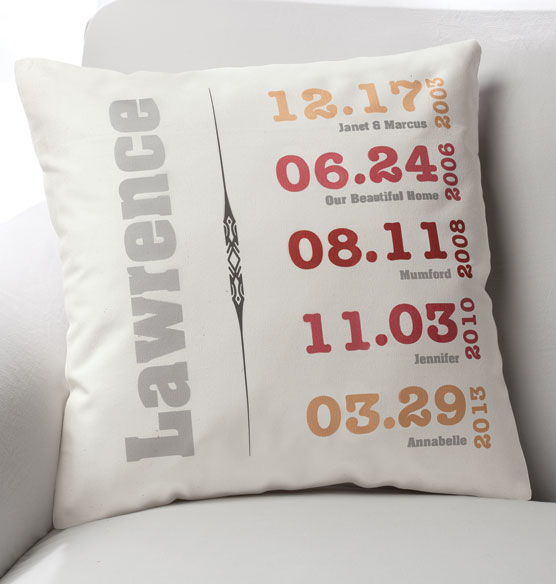 Family History Throw Pillow : Family Timeline Pillow - Custom Throw Pillow - Exposures