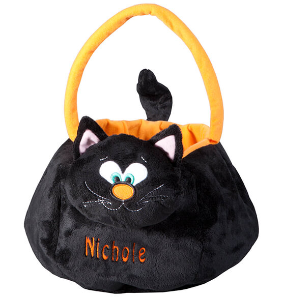 Personalized Black Cat Trick or Treat Bag - View 2