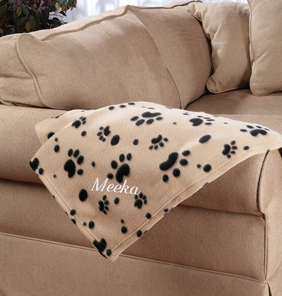 Personalized Paw Print Pet Blanket - View 3
