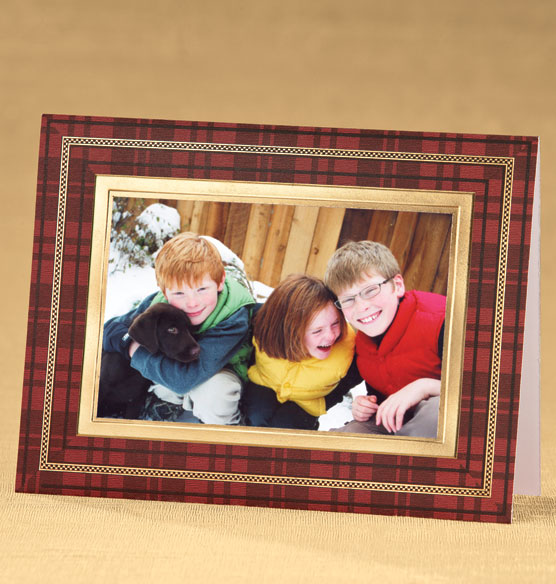 Perfectly Plaid Photo Christmas Card Set of 18 - View 2
