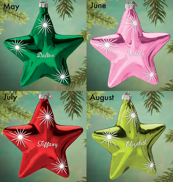 Personalized Birthstone Star Ornament - View 3