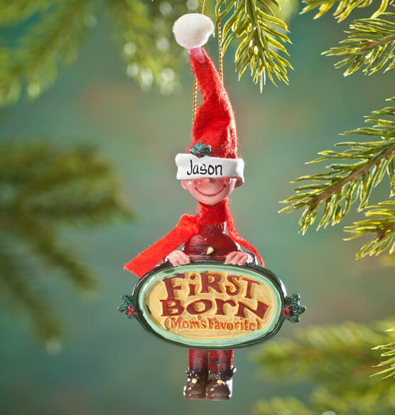 Personalized Mom's Favorite First Born Ornament - View 2