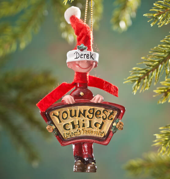 Personalized Mom's Favorite Youngest Child Ornament - View 2