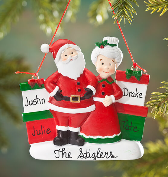 Personalized Mr. and Mrs. Claus with Presents Ornament - View 2