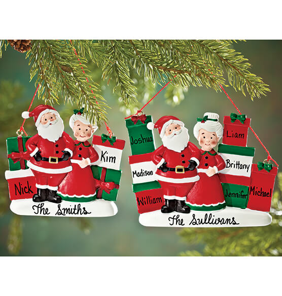 Personalized Mr. and Mrs. Claus with Presents Ornament - View 5