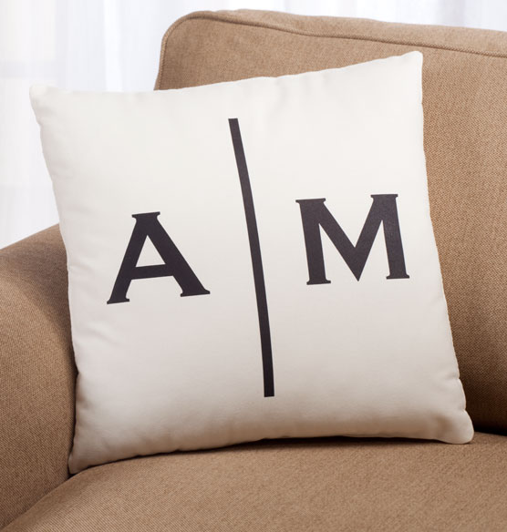 Double Monogram Pillow 18 x 18 - View 2