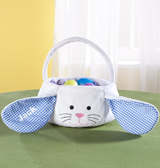Personalized Gingham Easter Bunny Basket - View 2