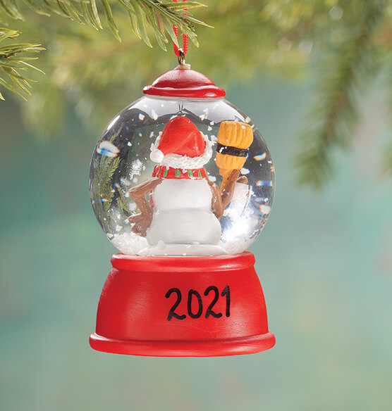 Personalized Snowman Waterglobe Ornament - View 2