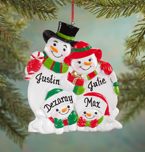 Personalized Snowman Family Ornament - View 3