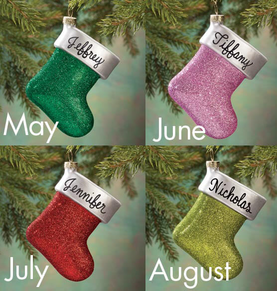 Personalized Birthstone Glitter Stocking Ornament - View 3