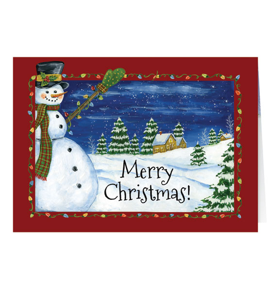 Festive Snowman Greeting Card - Set of 20 - View 2