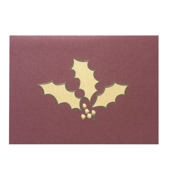 Holly Leaf Holiday Cards - Set of 18 - View 2