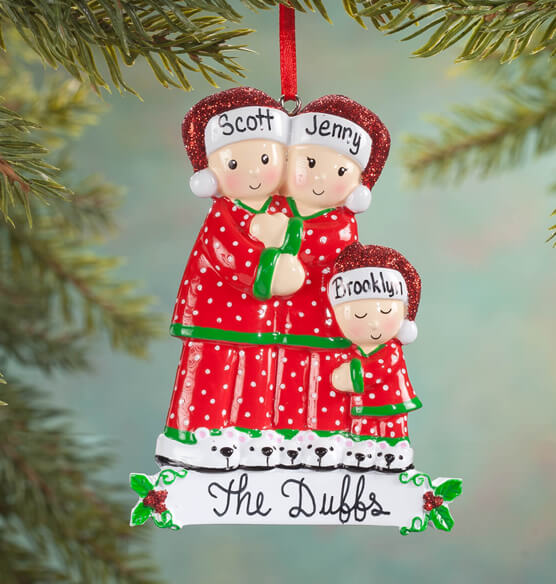 Personalized Family in Pajamas Ornament - View 2