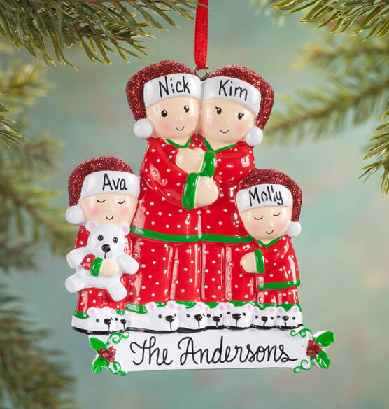Personalized Family in Pajamas Ornament - View 3