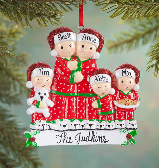 Personalized Family in Pajamas Ornament - View 4
