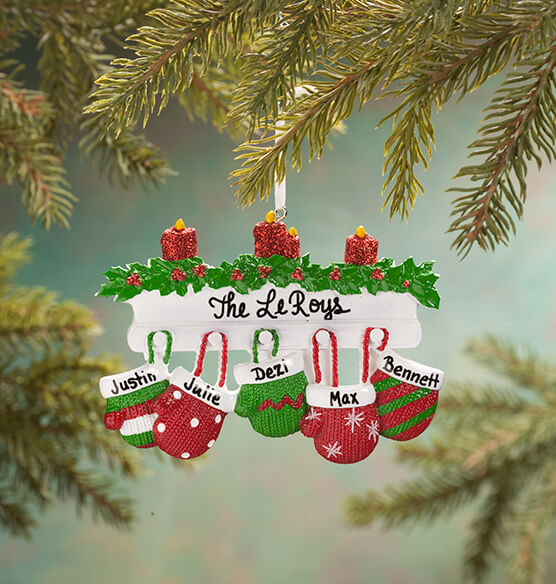 Personalized Family Mittens Ornament - View 4
