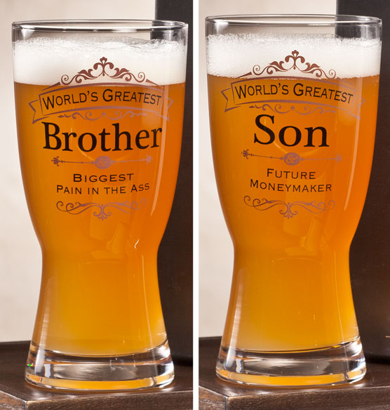 Personalized Insignia Beer Glass - View 2