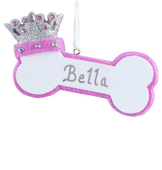 Personalized Princess Dog Bone Ornament - View 2