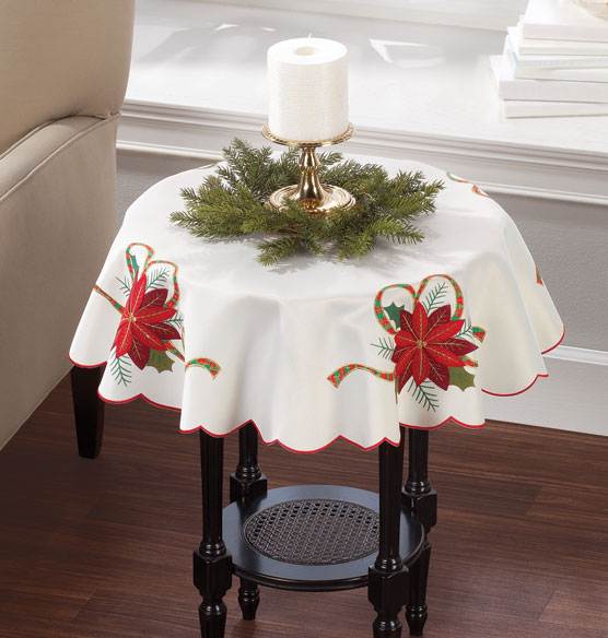 Poinsettia Embroidered Tablecloth - View 2