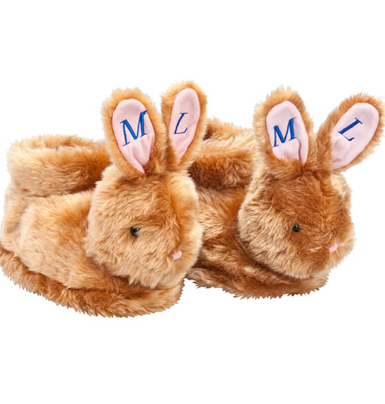 Personalized Plush Children's Easter Bunny Slippers - View 2