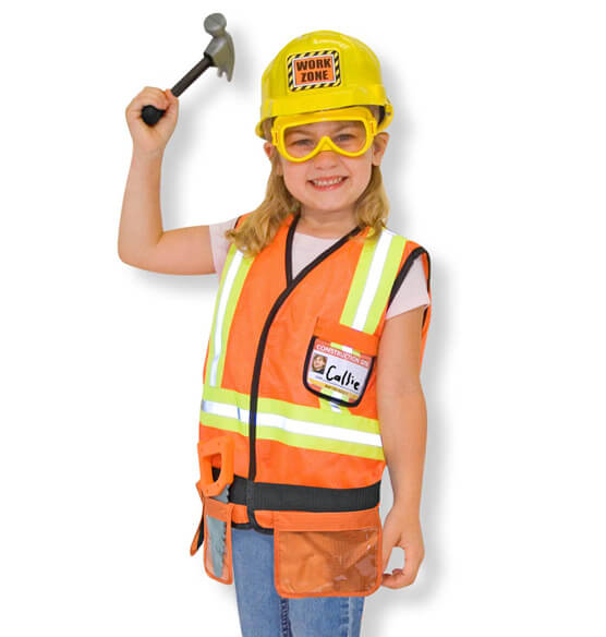 Melissa & Doug® Personalized Construction Worker Costume Set - View 2