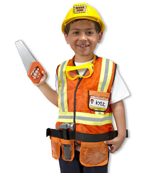 Melissa & Doug® Personalized Construction Worker Costume Set - View 3