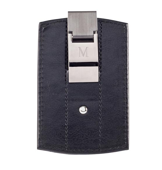 Monogrammed Black Money Clip Wallet - View 2
