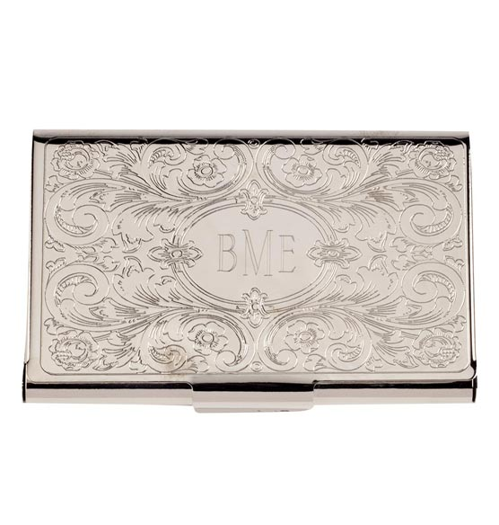 Monogrammed Embossed Business Card Case - View 2